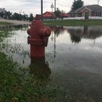 The Vinton Fire Department in the background, this hydrant is submerged six inches and counting #Flood2016 #iawx https://t.co/jmszUj2p4H