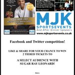 PLEASE RT **!Competition time!** We have 2 @SugarRayLeonard tickets to giveaway. Retweet to enter! #boxing #competition #giveaway #sports https://t.co/x8vHJE7P3q