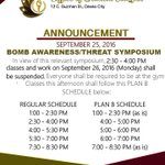 Please be reminded of the Bomb Awareness and Safety Symposium tomorrow! More informations in the photos https://t.co/Xr5VIkxwIe