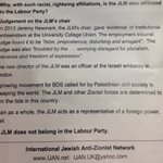 Leaflets calling for the expulsion of the Jewish Labour Movement from Labour being handed out on way into Momentums antisemitism meeting. https://t.co/Yc1cXcvxiY