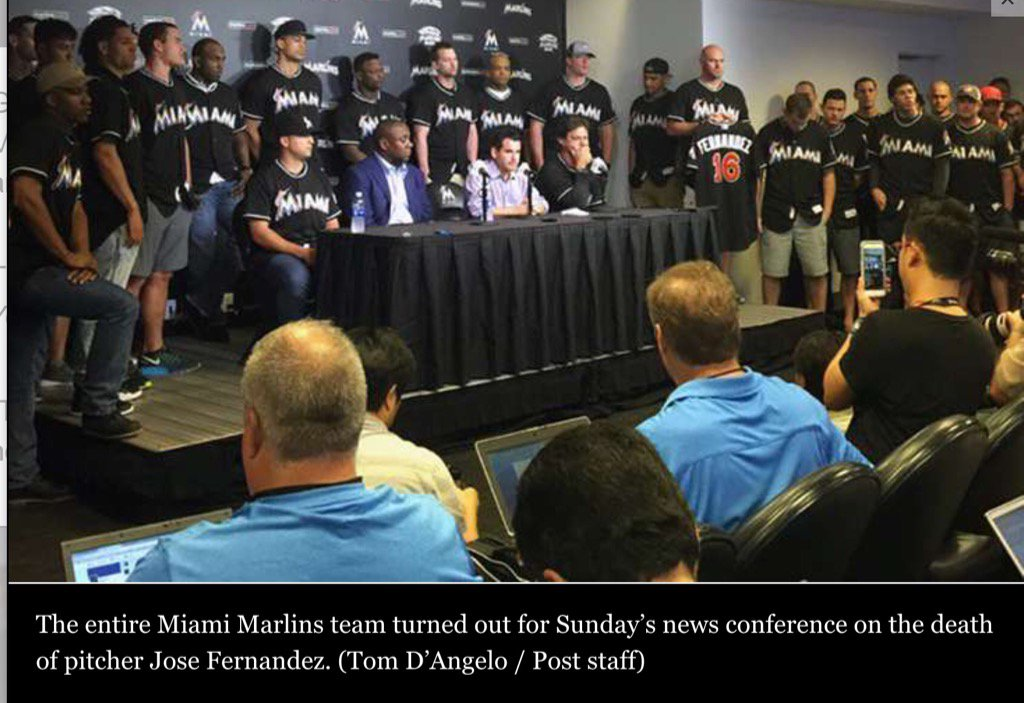 Photo: #Marlins team together at press conference after death of Jose Fernandez https://t.co/ItF3SO7qOh