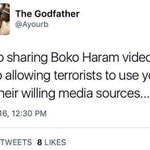 Under GEJ this PMB supporter gleefully circulated Boko Haram videos. Today he is (rightly) condemning people who do! https://t.co/ife2OkBrxD