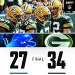 PACKERS WIN! Aaron Rodgers throws 4 TD as the Packers move to 2-1 on the season. https://t.co/sP7ByatJIG