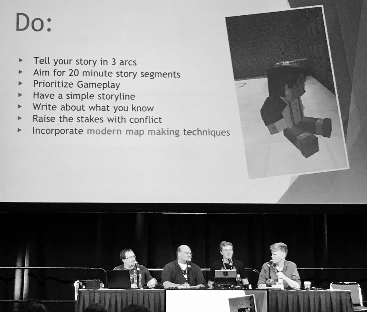 Do and Don't of Storytelling. #Minecon2016 Thanks! @Jigarbov @Rsmalec @CDFDMAN https://t.co/xFJhUQBK4S