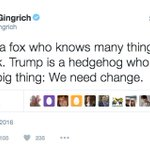 """""""Mr Gingrich please dont tweet that"""" """"SHUT UP I AM GOING WITH THE HEDGEHOG METAPHOR"""" """"But"""" """"HEDGE. HOG. METAPHOR."""" https://t.co/WKZerBr6As"""