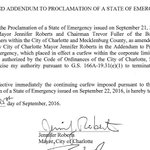 Addendum to state of emergency proclamation that lifts curfew in Charlotte: https://t.co/aEVf5YBTHE