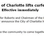 #BREAKING: City of Charlotte lifts curfew effective immediately https://t.co/2QRXoPz6Ye https://t.co/YdCRldKxRI