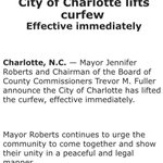 City of #Charlotte lifts curfew, effective immediately ... Well have a story ASAP #KeithLamontScott #CharlotteProtest #JustinCarr https://t.co/xaav38x23I