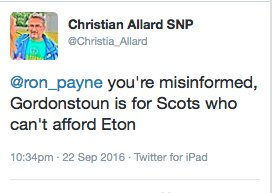 You're misinformed. Gordonstoun is for Scots who despaired of your utterly shit education policy. https://t.co/48bEqT1UQd
