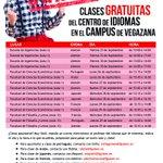 Clases GRATUITAS del Centro de #idiomas en el Campus de Vegazana de la #LeónEsp https://t.co/fqU18ANqj7