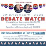Watch the Presidential Debate TONIGHT w/ #TXWomans in person or via Twitter! https://t.co/NbN4xapVHf #twudebate https://t.co/v0F8FDgLNs