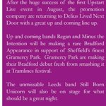 Much love to @BradfordReview for mentioning our gig this Friday with the boys @ReganBand @gramercypark_  & Still born unicorn. https://t.co/8Haj1F7JWX