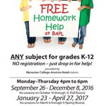 Tutors will be at Main Library for homework help starting today! Any subject, any grade, no cost! https://t.co/TSu5MLkD1T