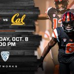 The @beaverfootball game vs. Cal on Saturday, October 8 will be at 6:00pm PT on @Pac12Network. #GoBeavs https://t.co/VSVyVMjo8r