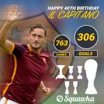 Happy 40th birthday to Roma legend Francesco Totti. 763 games 306 goals 1 club Il Capitano. https://t.co/xbOMdonlI4