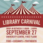 The Library Carnival will be taking place tomorrow in the UC! Swing by for free giveaways and to learn how the library can help you! https://t.co/qKWrQ46Y0p