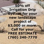 Ready for a change? 50% off #IrrigationDripSystem for your new #landscape project of $3,000 or more. #HighDesert #IE #SoCA #OC #LA https://t.co/BCSU6l3wcD