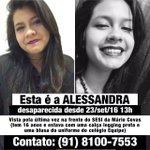 Amigos, a Alessandra ainda não foi encontrada. Por favor, repassem! Obrigado! https://t.co/wtLAjBBEeN