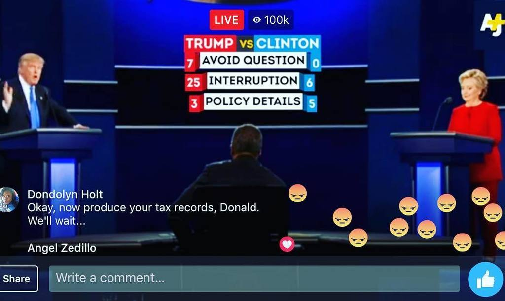 great job @ajplus with the tickers... nice touch. #debate https://t.co/eOcj2BWiIP https://t.co/HLjTPePGbA