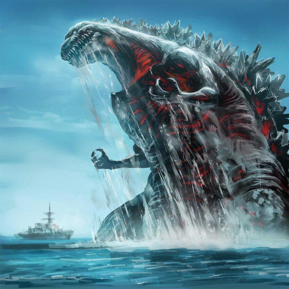 バトルシップ爆音上映で思いついたシンゴジラのワンシーン。こんな海上戦も見てみたかった! #シンゴジラ https://t.co/vMswEQKmrk