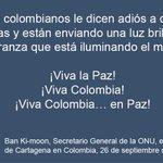 Ban felicita a los colombianos por el #AcuerdodePaz y les pone como ejemplo para el mundo https://t.co/axtVVm8PeR