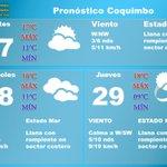 #Pronostico del #Tiempo para #Coquimbo #Martes abundante nubosidad Mín 11°C Máx 17°C #Miercoles abundante nubosidad Mín 11°C Máx 16°C https://t.co/6pNsAAlrc6
