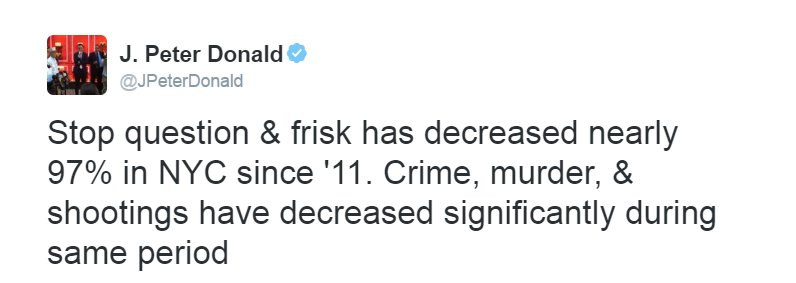 Moments after Trump speaks on stop-and-frisk, NYPD spokesman tweets this. #debatenight