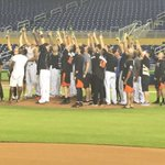 What a finish to the night at Marlins Park. With everyone gone, Marlins players back on to mound w a toast to the sky for Jose Fernandez. https://t.co/vGL57FWWZC