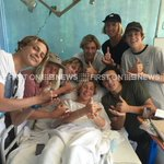 Surrounded by mates, shark attack survivor Cooper Allen recovers in hospital. 3 sharks spotted off coast today#9News https://t.co/xhLyuMUTO3