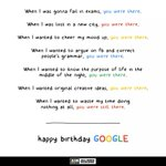 Whenever I needed you, you were there. Happy Birthday, Google! https://t.co/hyXtW0DL1r
