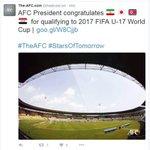 #الاتحاد_الآسيوي يهنىء #العراق و #اليابان و #إيران و #كوريا_الشمالية بالتأهل لـ #كأس_العالم تحت 17 سنة https://t.co/9u50FodsGV