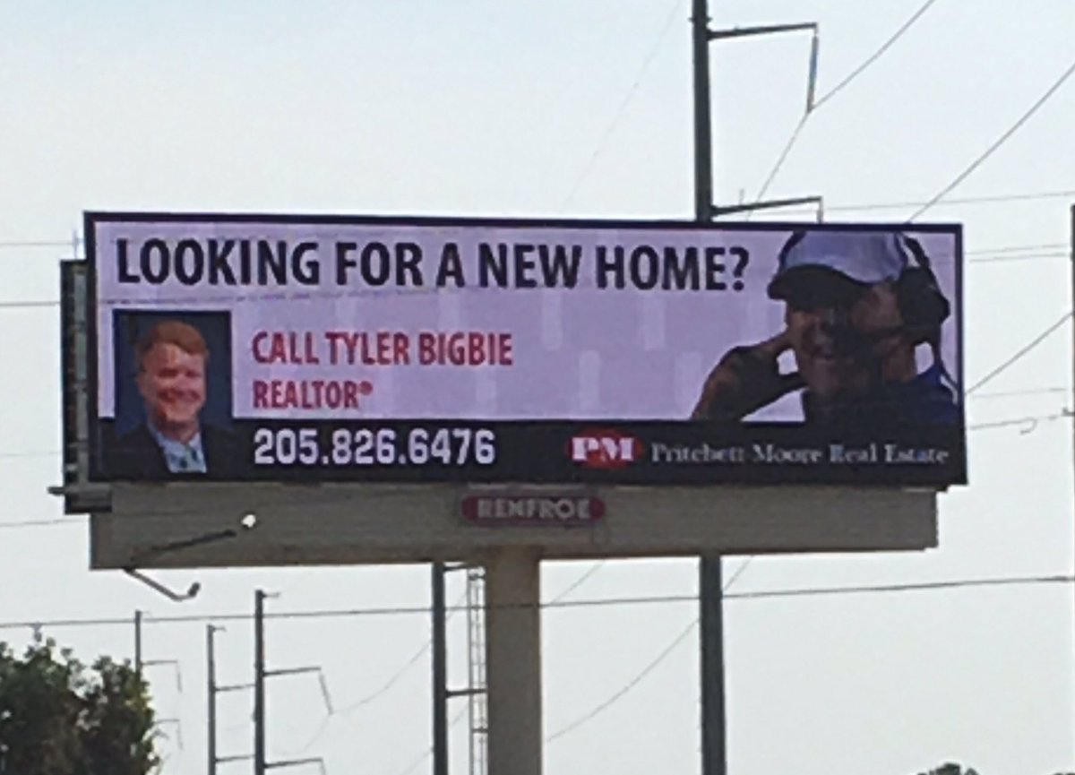"""Les Miles on a billboard in Tuscaloosa? Yep. """"Looking for a New Home?"""" https://t.co/IqNQvgCbEF"""