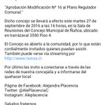 Atent@s! 16h Concejo Municipal Extraordinario que solicitamos para iniciar modif 16 al Plan Regulador Comunal #Ñuñoa https://t.co/I4TovOYsNQ