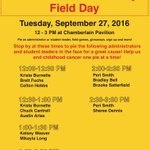 Come out to our field day today at Chamberlain field! There will be games, giveaways, sign ups, and PIES! #stjudeUTD https://t.co/dcssBXYynQ