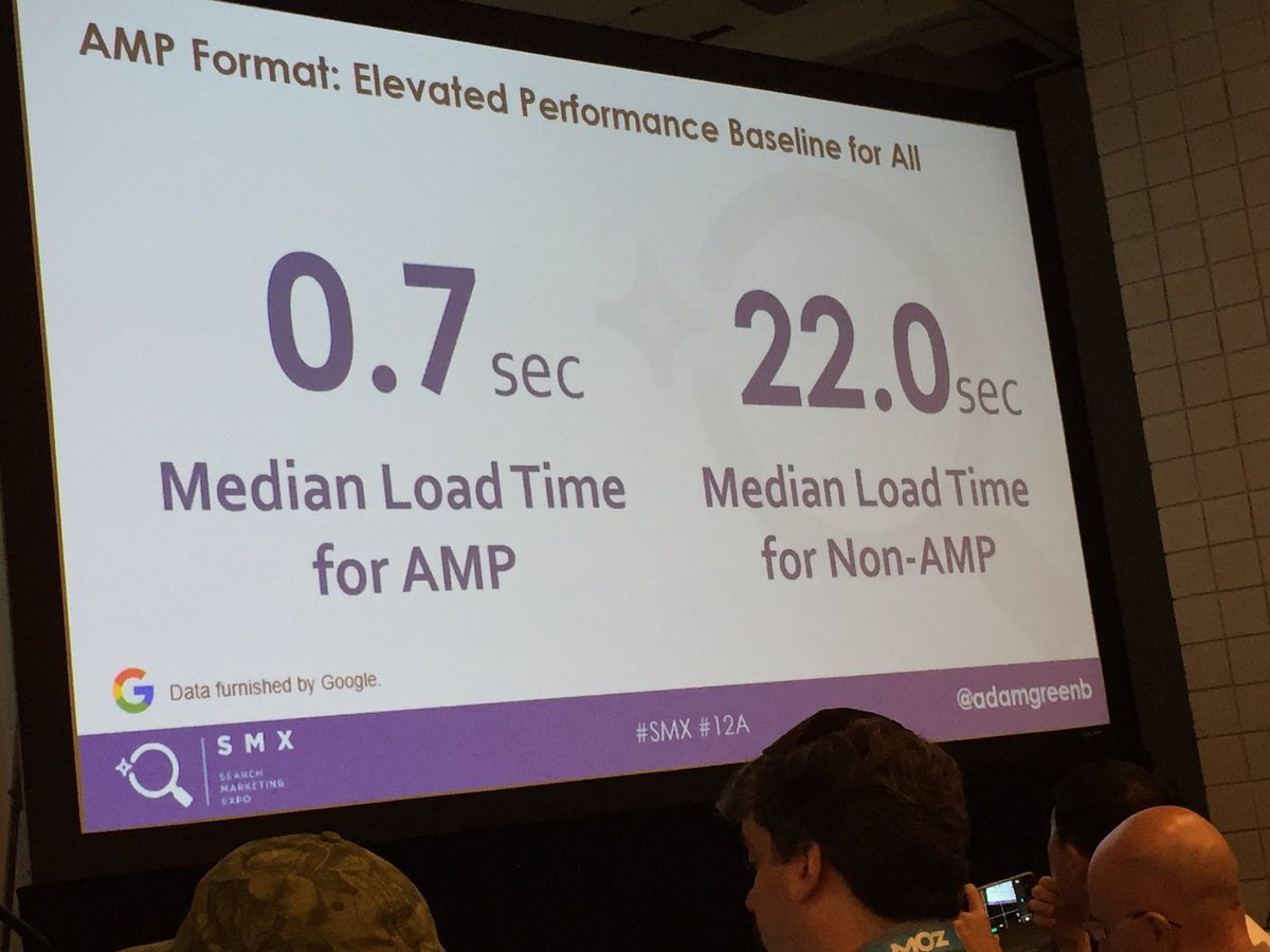 Median load time for AMP pages is .7 seconds. Building out AMP pages is not just for Google @adamgreenb #smx #12A https://t.co/v2Ja4WeM7l