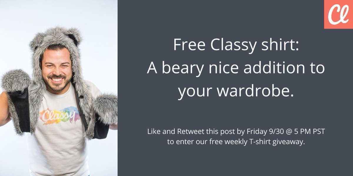 Now you can stay Classy all the time, with a free T-shirt! Like AND Retweet to win. https://t.co/2gvVT2ee6S https://t.co/tg1EbgSEII