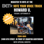 National Voter registration day is today! Get registered outside of Cramton from 12-6 at Bets #VoteYourVoice truck #HipHopAwards https://t.co/tBzMQKcg2n