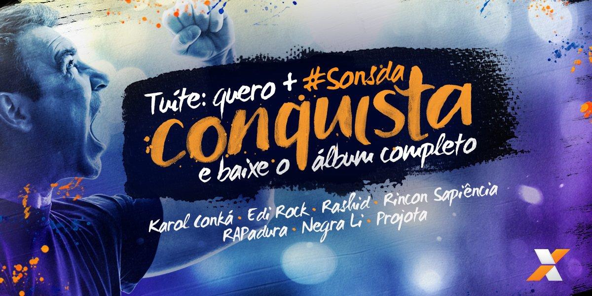 Tuíte QUERO + #SonsdaConquista e ganhe o álbum com os sucessos de @KarolConka, @Projota e mais 5 estrelas do rap. https://t.co/bu4z62ncgl
