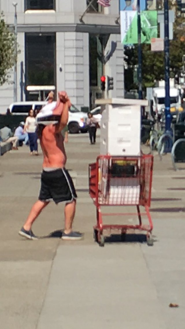 """There's a man with an angry sounding beehive outside City Hall. He just keeps yelling """"Bees!"""". https://t.co/4BCdJ34xeS"""
