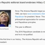 Reality as we know it is crumbling. The Arizona Republic has never, ever, EVER, endorsed a Democrat. Until now. https://t.co/jqnIUkTz8k
