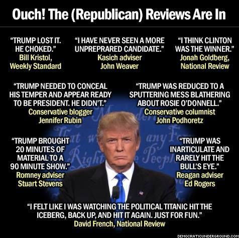 The Reviews are in and #TrumpWon the condemnation of his fellow conservatives. Bravo, Bravo. #Debates2016 https://t.co/25jTIWDwEA