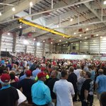 Crowd fills a massive airplane hanger at Trump rally in Melbourne Florida, thousands still waiting in line outside https://t.co/a23Hdnu97V