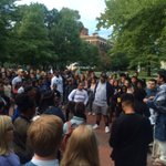 """And now, students are gathering on the Diag to protest an MPU """"debate"""" on Black Lives Matter slated to take place tonight https://t.co/iO0e8MZvM2"""