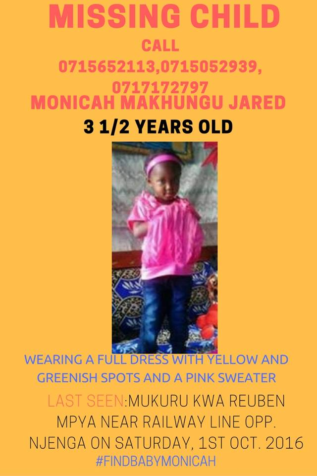 MISSING CHILD: She must be so scared wherever she is. Please help us #FindBabyMonicah https://t.co/yhzvt8qpkp