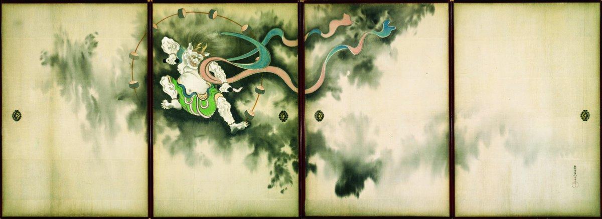 \コレも必見!/ 「風神雷神図襖」も本日からの展示!琳派の伝統的な画題を引き継ぎながらも、妖しくうごめく黒雲の表現に、其一独特の感性が光ります★天空を舞う風神と雷神の表情にもご注目ください! https://t.co/HeA2vQfzrW