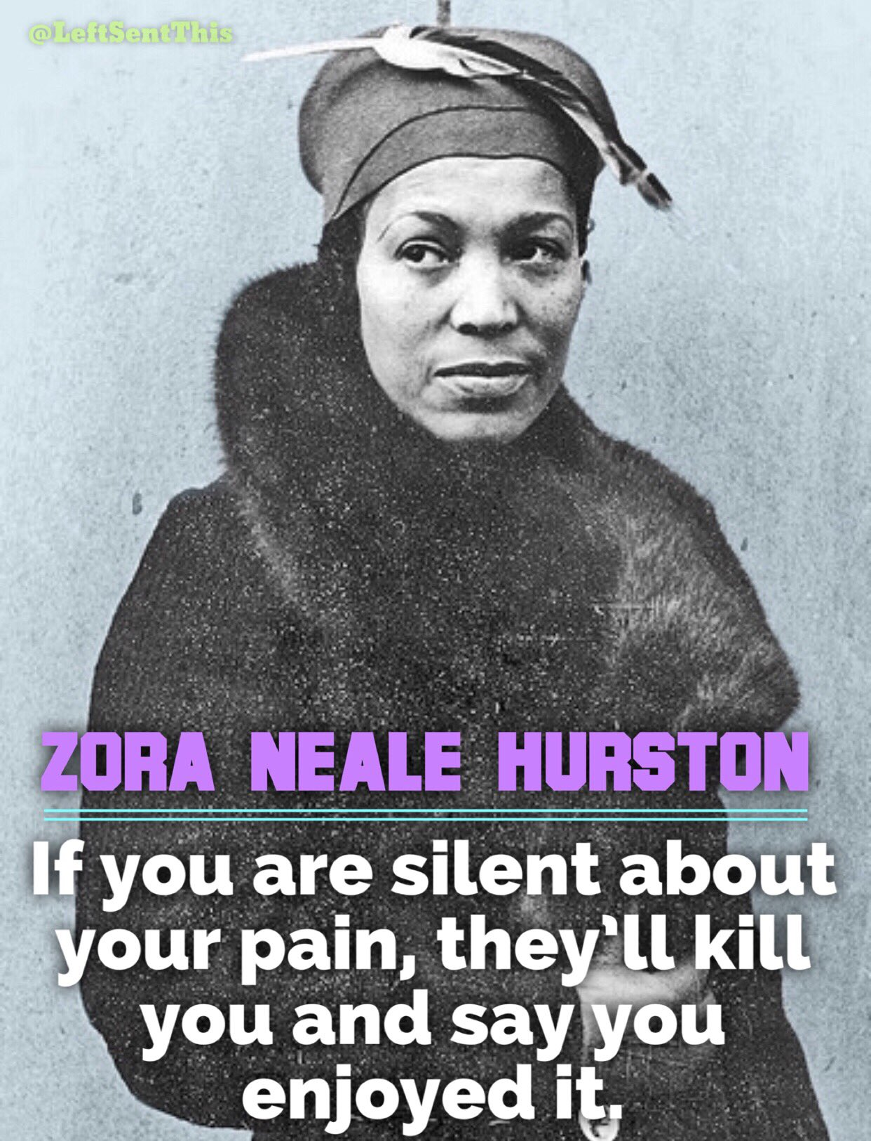 'If you are silent about your pain, they'll kill you and say you enjoyed it.'-Zora Neale Hurston https://t.co/zrJx8bbl5v