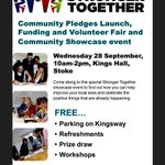 Hope to see you at todays #StrongerTogether Community Pledges Launch at the Kings Hall in Stoke. https://t.co/VGI1Ch9s5G