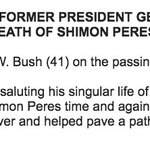 Statement by former President George H. W. Bush (41) on the passing of former Israeli President Shimon Peres. https://t.co/6sSfqhQZa8