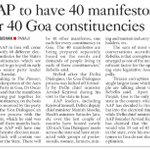 AAP in will come up with 40 different election manifestos for the States 40 constituencies in GOA https://t.co/UjFCNCjUWx