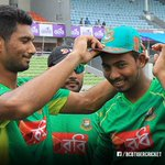 Special moment as debutant Mosaddek Hossain gets his ODI cap from Mahmudullah Riyad.  #BANvAFG https://t.co/cZIcpN7NB8